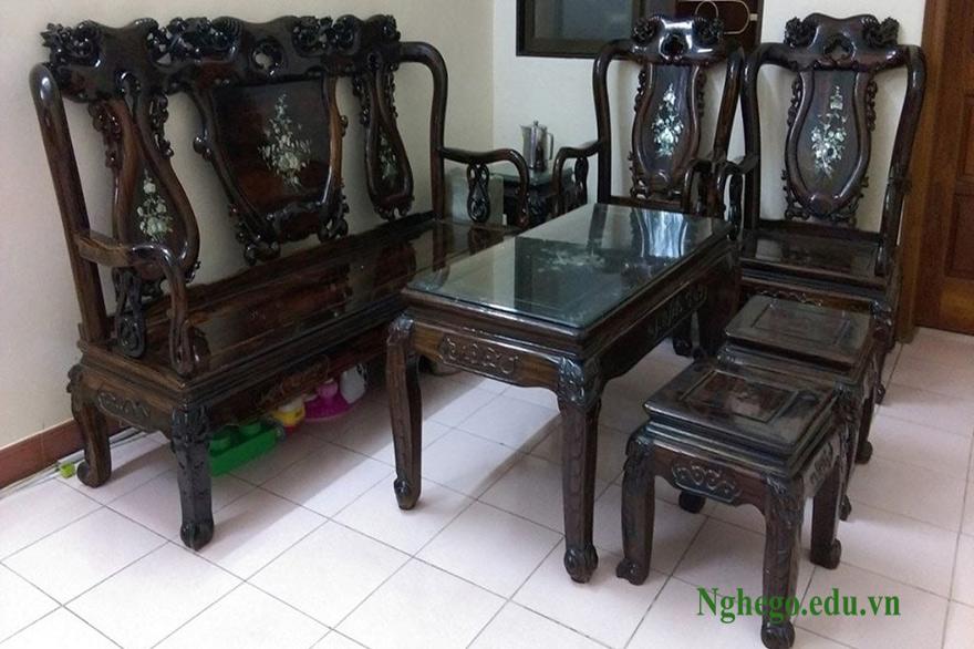 Bộ bàn ghế mun