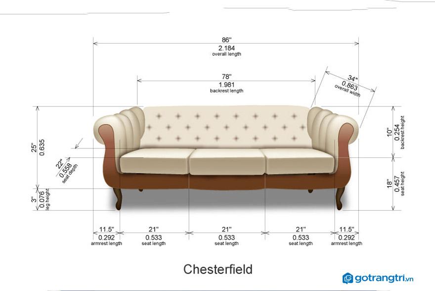 Kích thước tiêu chuẩn của ghế sofa văng là bao nhiêu?