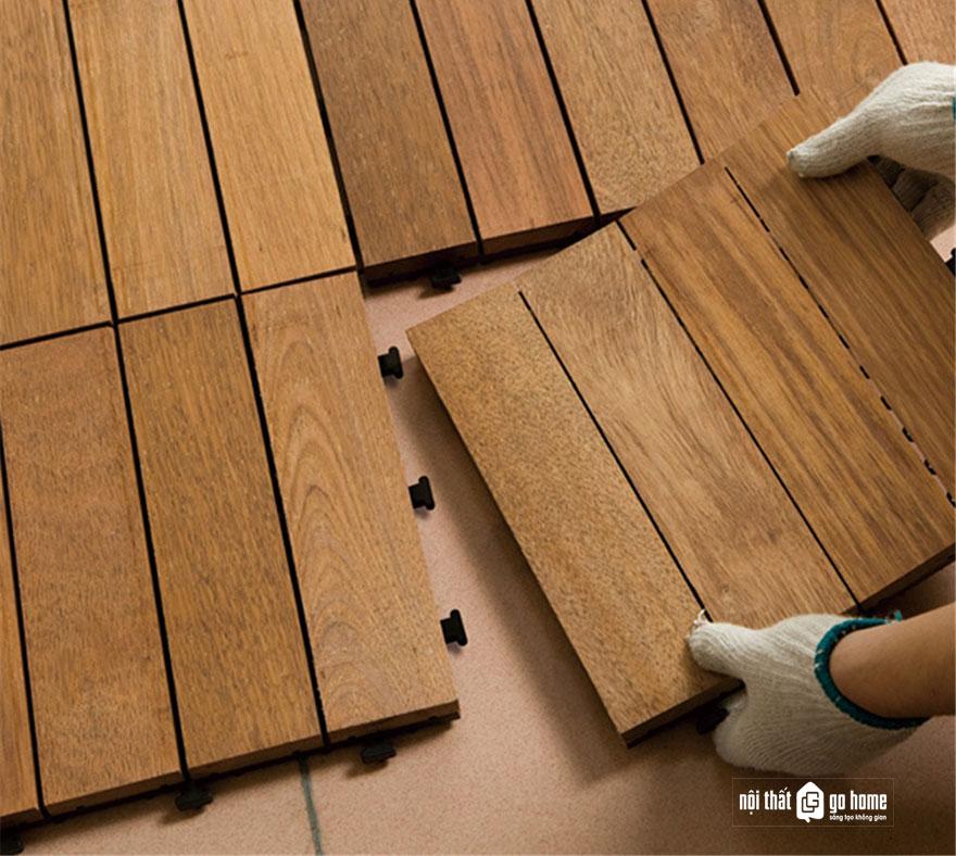 thi công sàn gỗ ngoài trời
