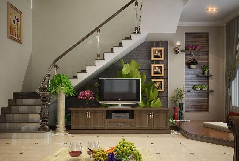Trang trí phòng khách có cầu thang với màu sắc tương phản