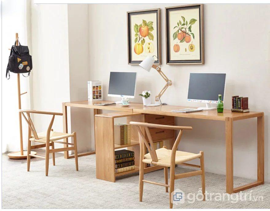 Bàn làm việc gỗ tự nhiên thiết kế đẹp tiện dụng GHS-4659