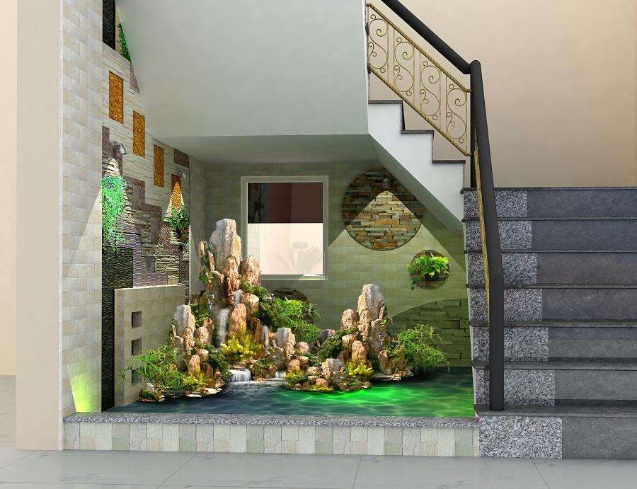 Trang trí phòng khách có cầu thang bằng đài phun nước