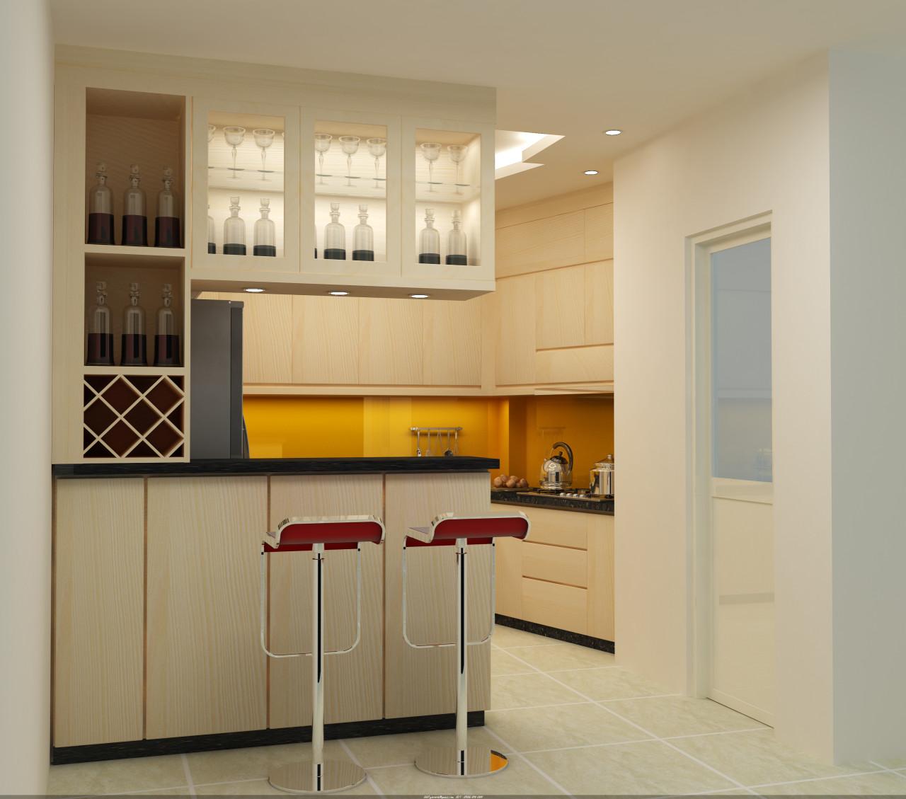 tủ bếp gỗ thông minh, hiện đại