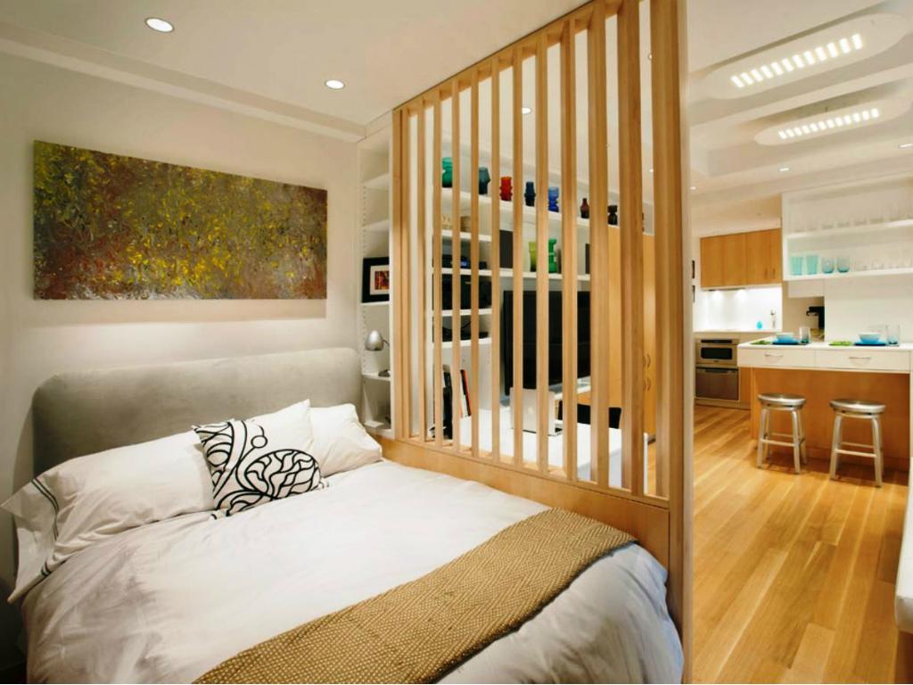 Vách ngăn phân chia phòng khách và phòng ngủ hiện đại